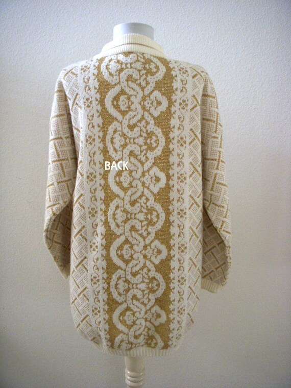 Vintage 80s White with Gold Lurex Tunic Sweater Dress - Oversized Gold and  White Leggings Sweater - 1980s Long Tunic Pullover - Size Medium a44f07d61