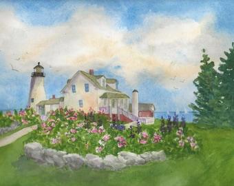"Pemaquid Point Lighthouse Maine; blank card, Maine card, watercolor print in 5""x7"" mat; Downeast Maine; Coastal Maine"