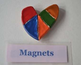 Red and Brown Heart Magnet