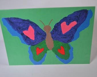 Love Butterfly in Green Grass Card