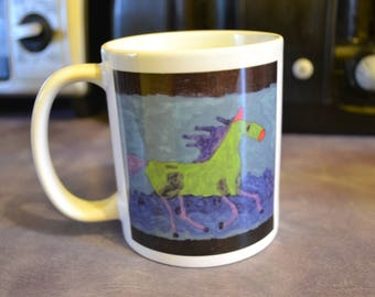 Green and Purple Horse with Blues Waves Mug