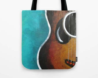 """Smiling Guitar Tote in Teal, 16""""x16"""" Art Print Tote"""