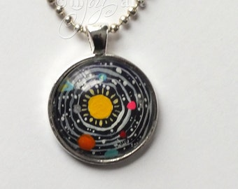 Solar System Art Pendant, silver necklace included, original mini acrylic painting under glass, one of a kind NOT A PRINT