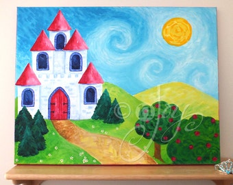 Princess art for girls room, PINK CASTLE, 20x16 inch acrylic painting for childrens room, girls baby nursery art