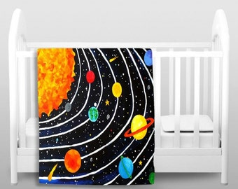 Black Solar System Fleece Blanket, Kid Bedding, Solar System Decor, Space Theme