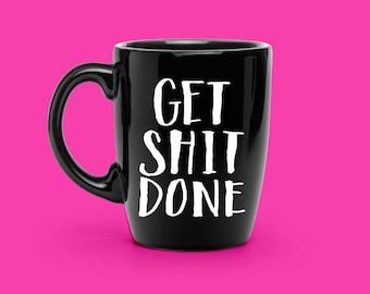 Obtenez Sh * t fait à la main en lettres - amateur de café personnalisé Mug sticker - motivation Mug - Mug personnalisé Unique autocollant, une tasse de café vinyle autocollant