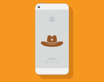SHERIFF HAT Vinyl Decal, Western iPhone Decal, Vinyl Sticker