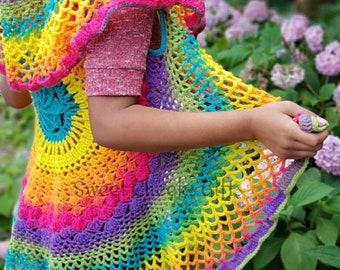 Rainbow Mandala Boho Festival Circle Vest