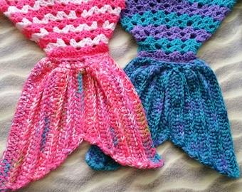 Mermaid Tail Blanket -- Custom Made to Order -- Crochet Afghan