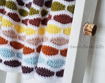 Ripple Weave Blanket Crochet Throw Afghan -- Select a Size -- Custom Colors -- Baby, Stroller, Lap, Crib Toddler, Twin, Full, Queen, King