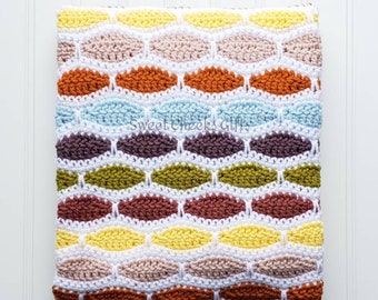 Ripple Weave Throw Crochet Blanket Afghan -- Select a Size -- Custom Colors -- Baby, Stroller, Lap, Crib Toddler, Twin, Full, Queen, King