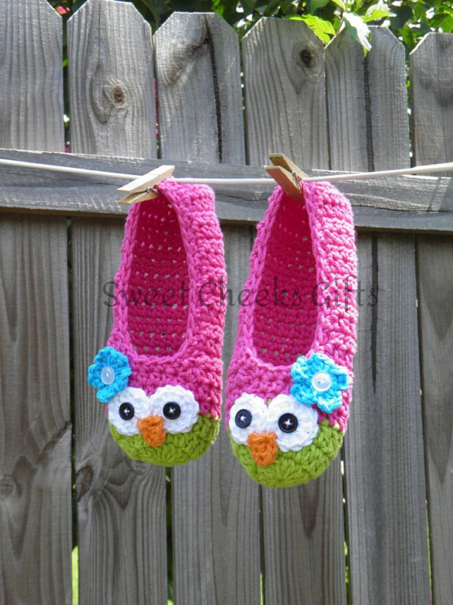 youth owl ballet style slippers -- custom made to order pink house shoes