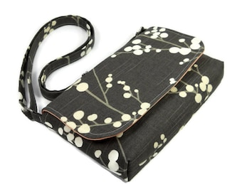 Small Gray Purse, Mini Messenger Bag, Tree Pocketbook, Peach and Gray Crossbody Bag, Cross Body Bag, Adjustable Strap, Ready to Ship