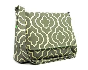 Gray Messenger Bag For Her, Quatrefoil Print Cross Body Handbag, Shoulder Bag, Gray Green Medium Purse, Crossbody Purse, Handmade Purse