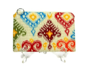 Ikat Cosmetic Bag, Cotton Zipper Pouch, Purse Pouch, Colorful Zip Pouch, Makeup Pouch, Padded Zipper Pouch, Pencil Case, Christmas Gift Mom