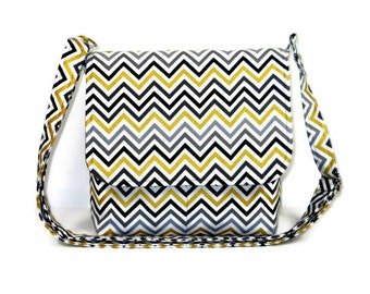Small Chevron Messenger Bag / Cross Body Bag / Small Fabric Purse / Everyday Chevron Purse -  Gold and Gray Chevron , Adjustable Strap