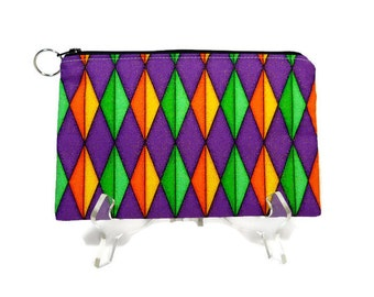 Diamond Print Pouch, Colorful Zip Bag, Zipper Pouch, Purple Green Orange Cosmetic Bag, Make Up Pouch, Padded Pencil Pouch, Purse Pouch