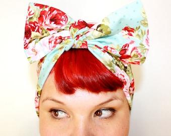 Vintage Inspired Head Scarf, Bow or Bandanna Style, Powder Blue Vintage Rose, Rockabilly, Retro, 1940s, 1950s