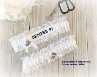 658cdfcbdbf Semper Fi Garter Set - Semper Fi Wedding Garters - US Marine Wedding Garters  - Semper Fi Embroidered Garters - Something Blue Garters.