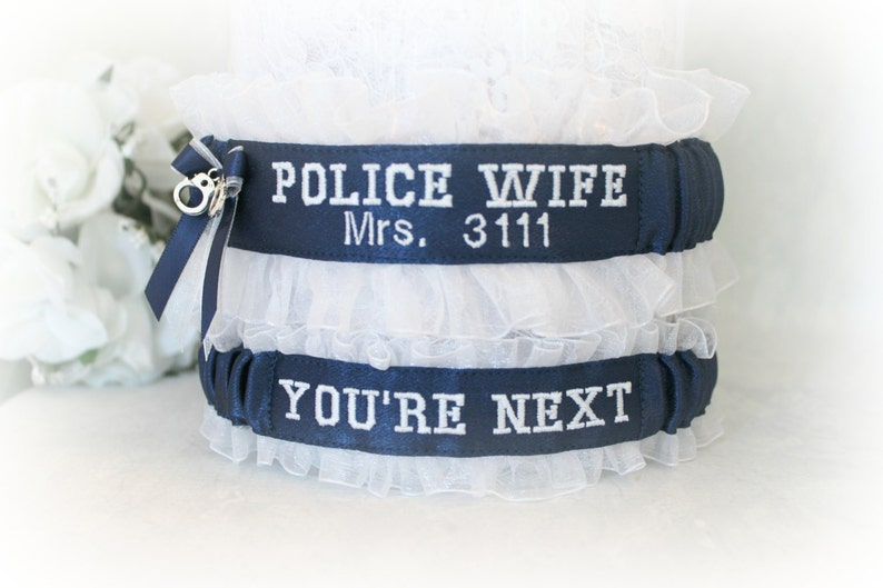 Personalized. Something blue garters Police Wife Garters Handcrafted Embroidered Police Wedding Garters Blue line police garters