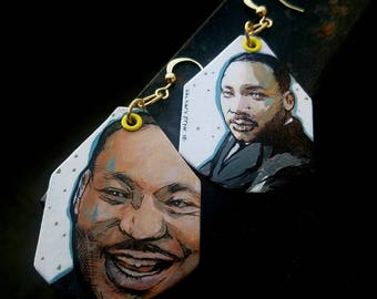 Martin Luther King Jr - hand-painted civil rights leader historic Figure earrings