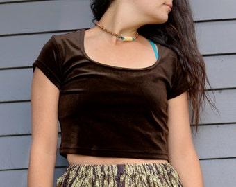91d0d1e70e74b Adorable Vintage 90s VELVET Brown CROP Top Dark Chocolate Brown Grunge