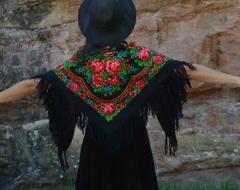 Vintage des années 70 Rose fleur frange châle carré foulard turban nappe