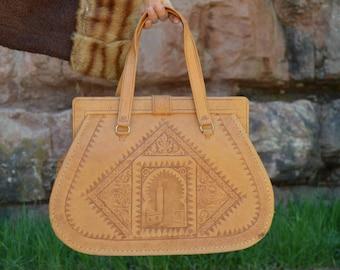 Vintage Moroccan Handmade Tooled Tan Leather Purse Bag