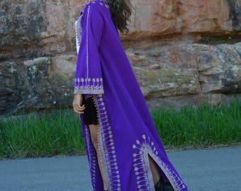Mariage violet et or Middle Eastern Vintage veste Caftan brodé indien ethnique d'Afrique