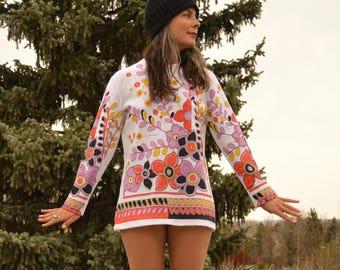 Vintage des années 60 PSYCHÉDÉLIQUES à fleurs Mod Longlseeve Mini robe TWIGGY