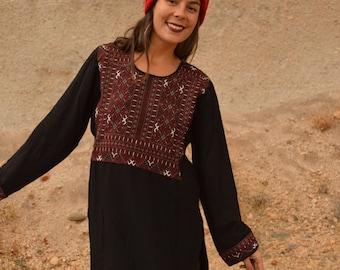 Vintage Ethnic Tribal Tunic Shirt Mini Dress Black and Red