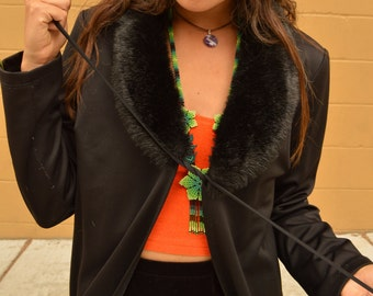 Vintage Black Faux Fur Collar Long Black Witch DUSTER KIMONO Jacket