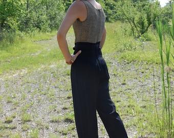 Vintage 80s Gold, Silver, Black LUREX Metallic Jump Suit One Piece Body Suit Romper with Belt Minimalist XS Small
