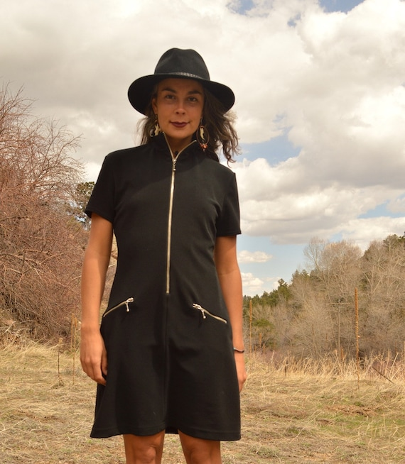 Vintage CACHE High Neck Black BODY CON Mini Dress