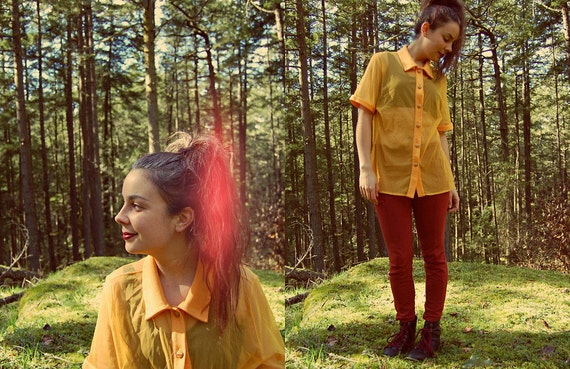 Vintage SHEER BLOUSE 90s SHEER Bright Yellow Must… - image 2