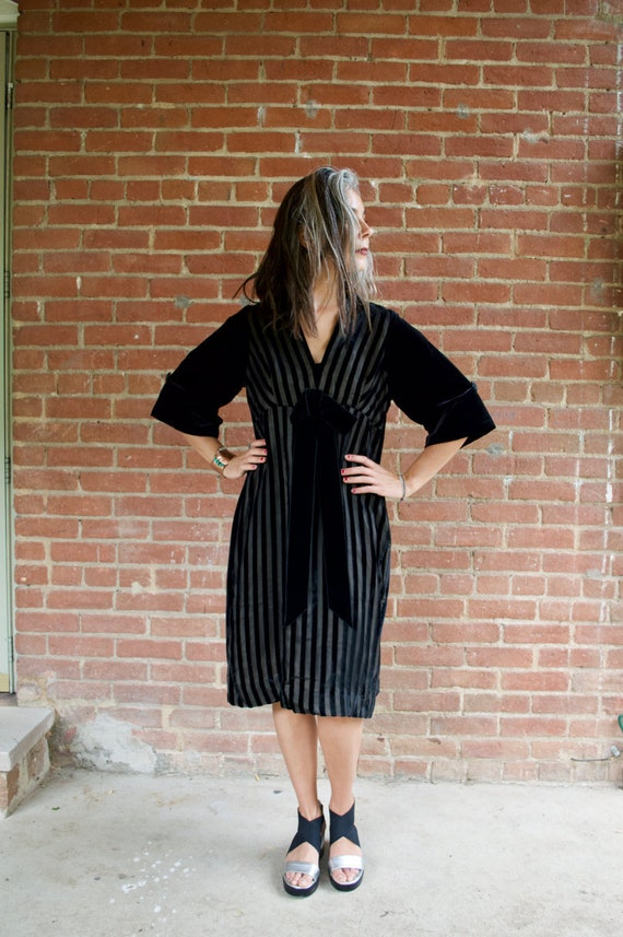 Vintage 50s Black Velvet Stripe Dress with Oversiz