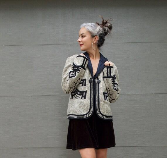 Vintage Ethnic Embroidered Gray Wool Jacket Handma