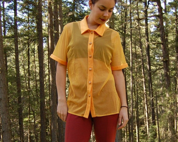 Vintage SHEER BLOUSE 90s SHEER Bright Yellow Must… - image 1