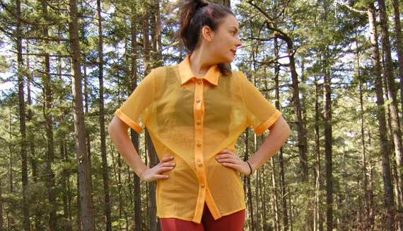 Vintage SHEER BLOUSE 90s SHEER Bright Yellow Must… - image 3