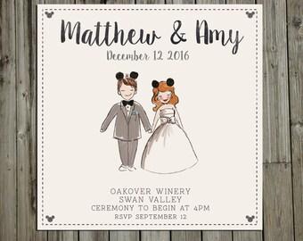 Custom Painted Disney Couple portrait, Wedding Invitation