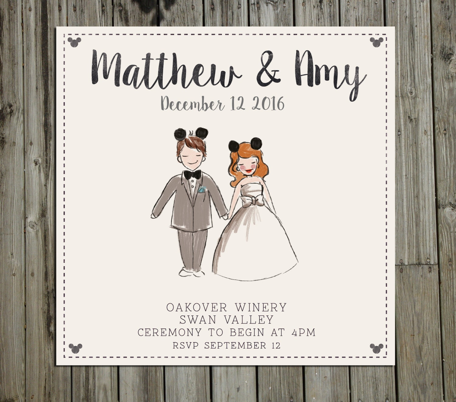 Disney Wedding Invitation: Custom Painted Disney Couple Portrait Wedding Invitation