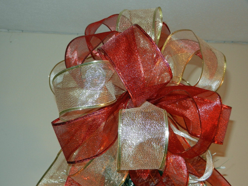 Large Sheer Gold And Red Ribbon Christmas Tree Topper Bow