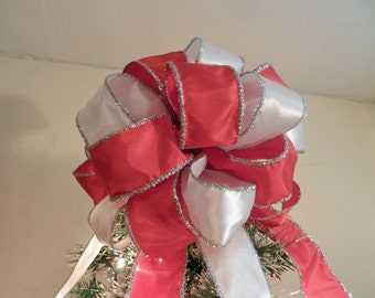 Large Christmas Tree Topper Bow red and white ribbons with silver tinsel trim