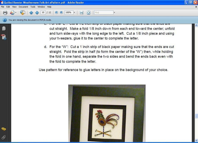 Tutorial -- Quilled Rooster Weathervane Folk Art Pattern
