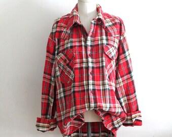 5a007ce8958 Vintage 1970s Cotton Flannel Button Down Shirt   mens L   womens XL-2XL