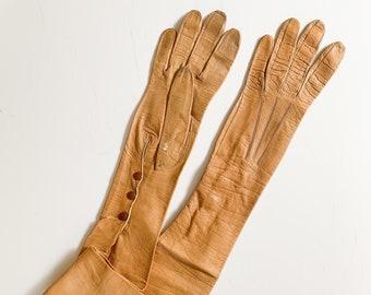 vintage/antique long caramel leather gloves