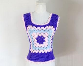 Vintage 1970s Granny Square Crochet Vest / S