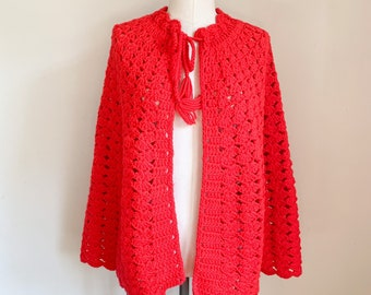 Vintage 1970s Red Knit Poncho / fit on most