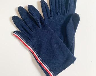 vintage 1950s Navy Nylon Gloves with striped ribbon / 7.5-8.5