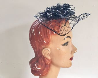 50% OFF...last call // vintage 1950s fascinator hat - BLACK BERRIES topper hat